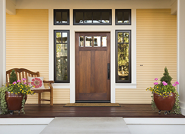 Photo of a beautiful wood entry door.